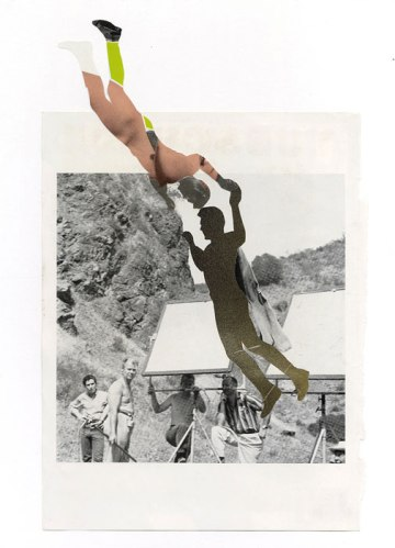 """Polixeni Theodorou - """"Last Night I Was a Flying Man,"""" 2013, Paper and spray paint, 19 x 15.5 inches"""