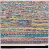 "Kathryn Refi - ""Every Word I Spoke, Arranged by Frequency,"" 2014, Paint pen on frosted mylar, 24 x 24 inches"