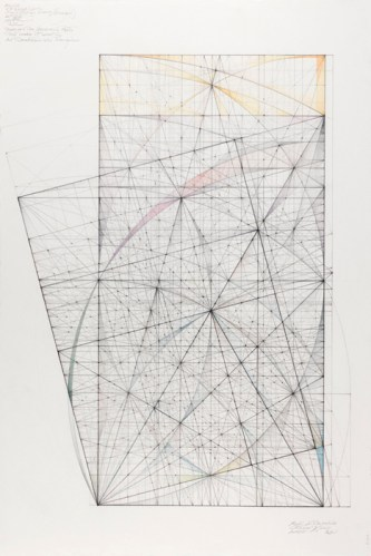 "Mark Reynolds - ""Double Square Series, Roots and Harmonics,"" 2011, Graphite, pastel and colored pencil on cotton paper, 13 x 15.75 inches"