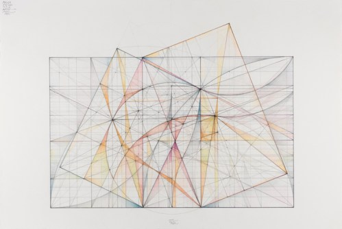 The Greater and Lesser Dyad Series: Two Ogee Curves, 12.11 - 2011, Graphite, pastel and colored pencil on cotton paper, 14 7/8 x 22 inches