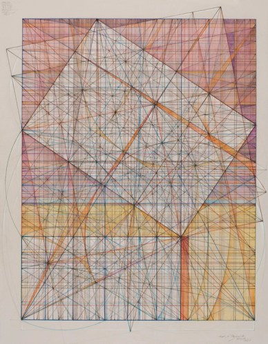 "Mark Reynolds - ""Marriage of Incommensurables Series, 1.902 and Square Root 2,"" 2013, graphite, ink, colored pencil and pastel on cotton paper, 14 x 11 inches"