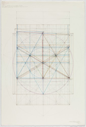"Mark Reynolds - ""Marriage of Incommensurables Series, Root Three and Phi, Incircle and Circumcircle, III, 1.4.15,"" 2015, Graphite and colored inks on cotton paper, 18.5 x 13.875 inches"