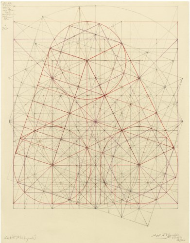 """Mark Reynolds - """"Minor Third Series: Three Circles, 3.14.21,"""" 2021, Graphite and ink on cotton paper, 14 x 11 inches"""