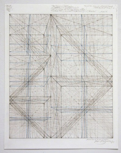 """Mark Reynolds - """"Minor Third Series: 1.1.12,"""" 2012, Graphite, ink, colored pencil and pastels on cotton paper, 13 7/8 x 10 7/8 inches. Sold"""