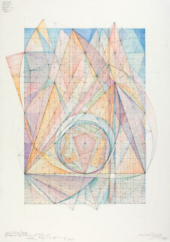 "Mark Reynolds - ""Minor Third Series: Breaks in the Fabric of Time 6.18.12,"" 2012, Watercolor, graphite, colored pencil on paper, 16.5 x 13.5 inches. Sold"