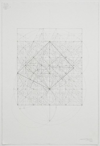 """Mark Reynolds - """"Minor Third Series: Marriage Between the Serlio and the King's Chamber Triangles, 12.17,"""" 2017, Graphite on cotton paper, 22 x 15 inches"""