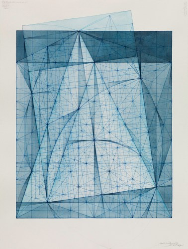 "Mark Reynolds - ""Minor Third Series: Nocturne 10.14,"" 2014, Watercolor and indigo ink on cotton paper, 24 x 18 inches. Sold"