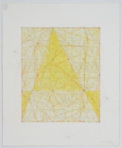 "Mark Reynolds - ""Minor Third Series: Square Orders, 11.17,"" 2017, Graphite, pastel, and colored pencil on cotton paper, 18 x 14.25 inches"