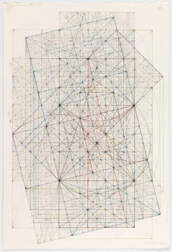 """Mark Reynolds - """"Phi Series: Root Five Grouping, 1.5.15 18,"""" 2015, Graphite, colored inks, color pencils, and pastels on cotton paper, 20.75 x 13.9375 inches"""