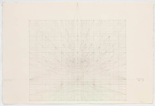 Square Series: Perspective Study of Ideal Mathematical Space, 11.10.97 - 1997, Graphite on cotton paper, 14.375 x 14.125 inches