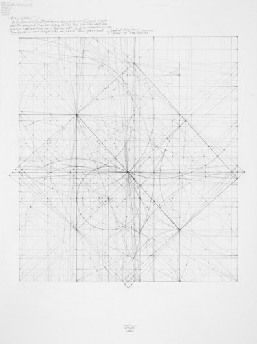 "Mark Reynolds - ""Square Series, Piston Effect, 12.10,"" 2010, Graphite on cotton paper, 20 x 15 inches"