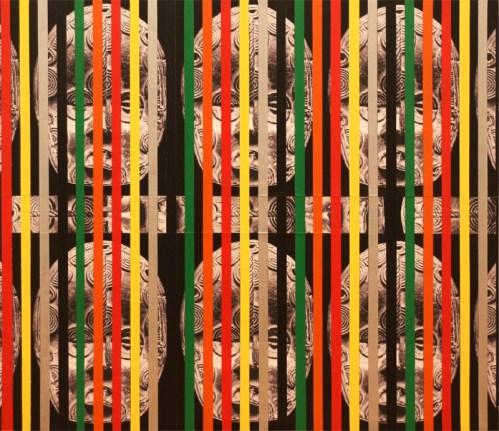 "Rico Gatson - ""Masks,"" 2014, Latex paint and spray paint on wood panel, 23.5 x 27.25 inches. Courtesy Ronald Feldman Fine Arts."