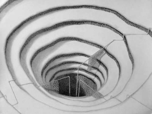 Reinforced Moulin - 2008, Graphite on Paper, 12 x 15.75