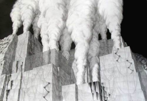 Rebuilding the Quarries - 2008, Graphite on Paper, 41 x 59.5 inches
