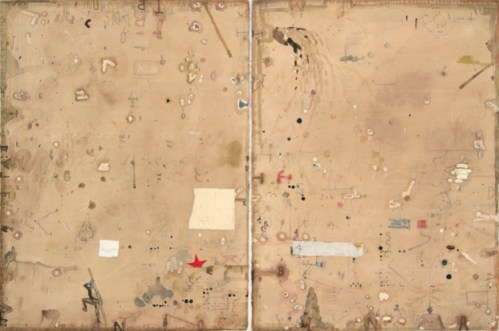 """David Scher - """"Untitled (Diptych),"""" Mixed media on paper, 30 x 44 inches. DS006"""