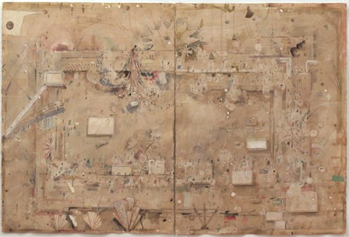 David Scher - Untitled (Diptych), 2012, Mixed media on paper, 29.75 x 44.5 inches DS042