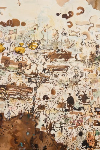 """David Scher - Detail: """"Manure Wagons of the Stars,"""" Mixed media on paper, 50 x 45 inches"""