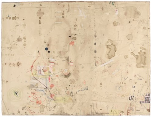 """David Scher - """"Bagnolo Series W11,"""" 2011, Ink, pencil, collage, string on paper, 19 5/8 x 25 3/4 inches"""