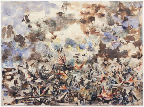 """David Scher - """"Battle of Battle Creek,"""" 2010-2016, Mixed media on paper, 44 x 59.5 inches. Sold."""