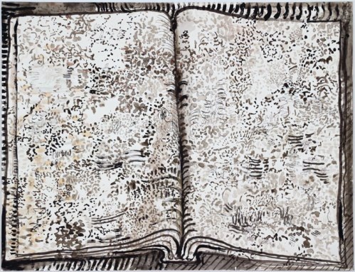 "David Scher - ""Untitled (Book 2),"" 2010, Mixed media on paper, 18 x 23.5 inches"
