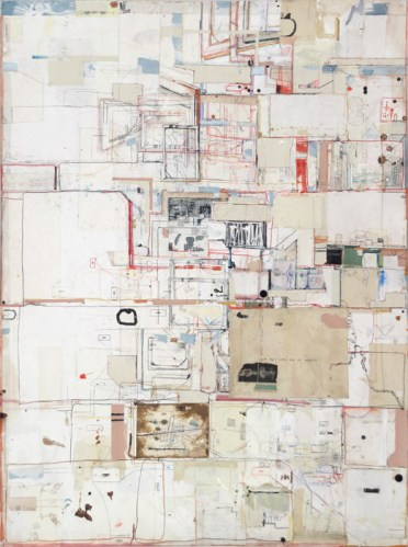Case IV - 2014, Mixed media on paper, 59.5 x 44 inches.
