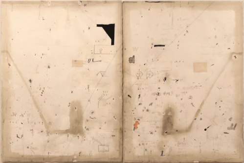 no title - Untitled (Diptych), 2012, Mixed media on paper, 29.75 x 44.5 inches overall