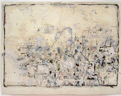 """David Scher - """"History of the Marching Band,"""" 2015, Mixed media on paper, 34.75 x 45.5 inches. Sold."""