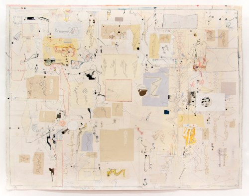 """David Scher - """"Horn Studies 1,"""" 2020, Mixed media on paper (ink, acrylic, collage, graphite), 40 x 51.25 inches"""