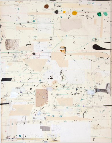 """David Scher - Detail (Panel IV): """"Score 19,"""" 2016, (Four sections), Mixed media on paper, mounted on four wood panels, 46 x 176 inches overall"""