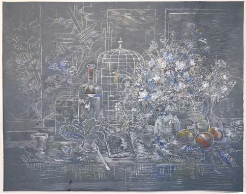 "David Scher - ""Still With Bird,"" 2021, Mixed media on paper, 34 x 42 inches"