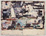 "David Scher - ""HARBOR M,"" Mixed media on paper, 34.75 x 45.75 inches. Sold."