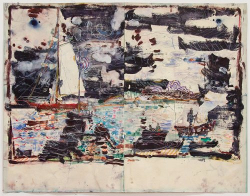 """David Scher - """"HARBOR M,"""" Mixed media on paper, 34.75 x 45.75 inches. Sold."""