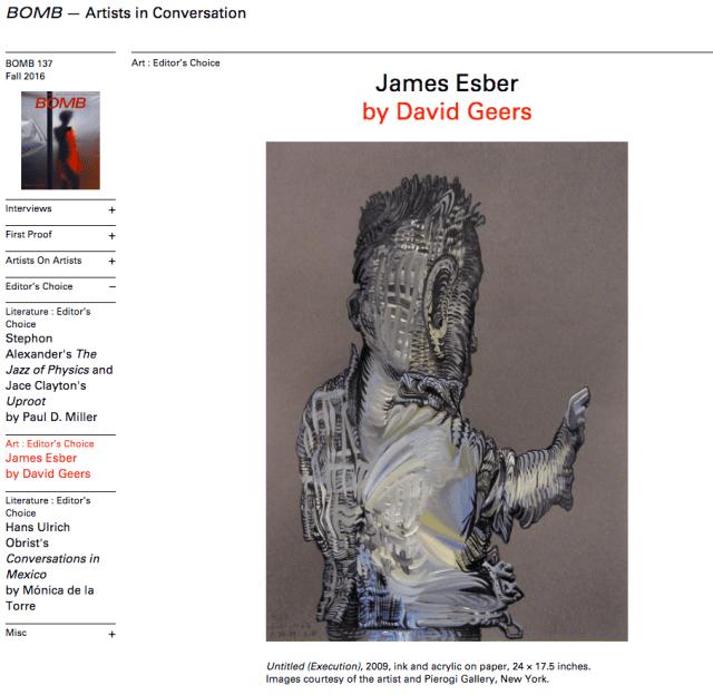James Esber in BOMB