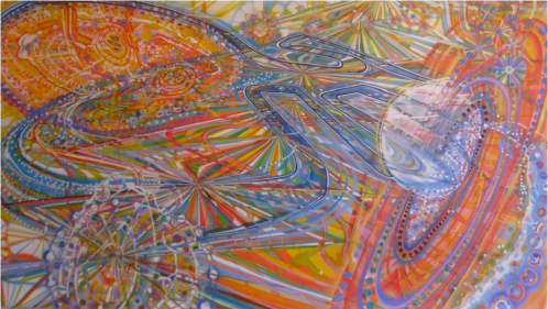 Possibility of Perception - 2011, airbrush and ink on paper, 52 x 94 inches