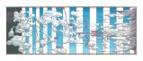 """Ward Shelley - """"Extended Narrative,"""" 2014, Oil and toner on mylar, 24 x  56 inches. Sold."""