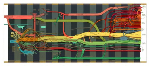 House Divided  v.1 - 2012, Oil and toner on mylar, 36 x 75.5 inches