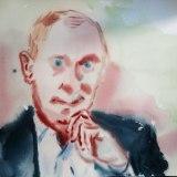 "no title - Jonathan Grossmalerman, ""Putin,"" Watercolor on paper"