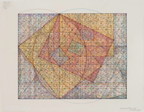 """Mark Reynolds - """"Square Root Phi Series: Movements in The Pyramid #22, 9.4.16,"""" 2016, Pastel, colored pencil, colored ink, and graphite on cotton paper, 14 x 11 inches"""