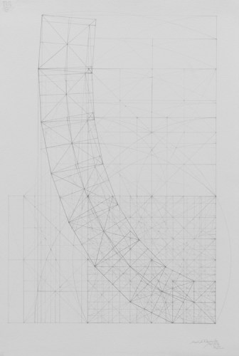 "Mark Reynolds - ""Square Series: Curvature of a Harmonic Progression, 8.19.16,"" 2016, Graphite on cotton paper, 22.5 x 15 inches"