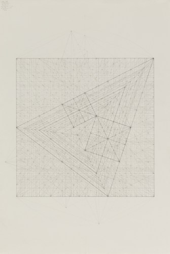 "Mark Reynolds - ""Square Series: Union with the Minor Third Series II, 5.17,"" 2017, Graphite on cotton paper, 22 x 15 inches"