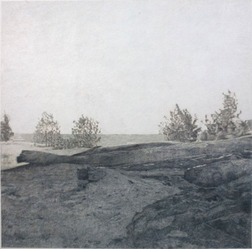 """John Stoney - """"Understanding Landscape Photography #3, Lower Hudson,"""" 2009, Colored pencil on rag paper, 30 x 30 inches"""