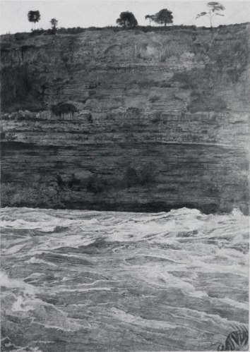 """John Stoney - """"Understanding Landscape Photography #2, Niagara,"""" 2009, Colored pencil on rag paper, 30 x 22.5 inches"""