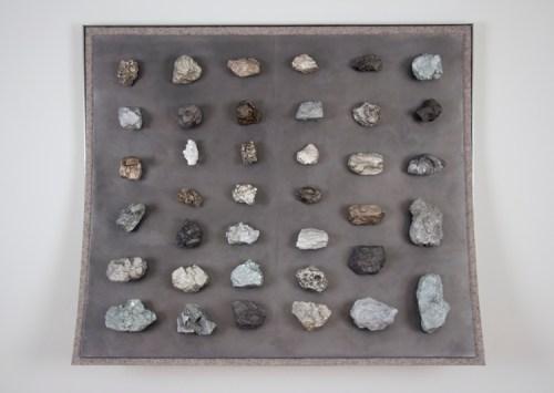 "John Stoney - ""Minerals,"" 2017, Elemental Aluminum, Antimony, Bismuth, Cadmium, Indium, Iron, Lead, Nickel, Silver, Tin, Zinc, Felt, 40.5 x 48 x 9.5 inches"