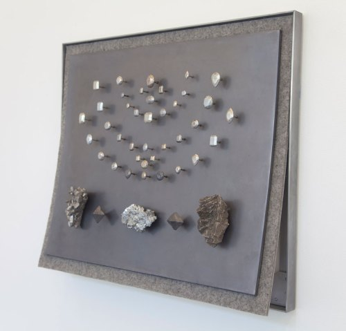 "John Stoney - ""Gems II,"" 2017, Elemental Aluminum, Antimony, Bismuth, Cadmium, Indium, Iron, Lead, Nickel, Silver, Tin, Zinc, Felt, 40.5 x 48 x 9.5 inches"