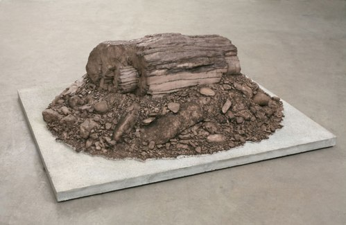 "John Stoney - ""The Sword and the Stone,"" 2007, Polymerized gypsum, 18 x 42 x 42 inches"