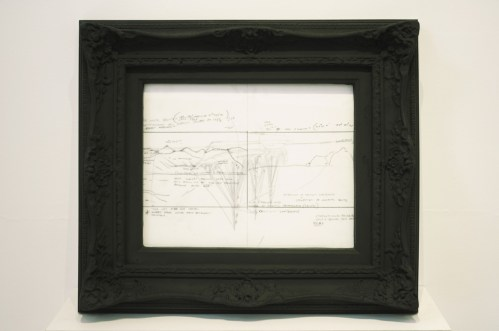 Framed Drawing #2 - 2007-08 Pencil on mylar in graphite frame, 18.5 x 21.25 x 6 inches