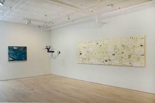 """Les Fleurs du Mal - Installation view, 2018 Left: Elliott Green, """"Watery Light"""" Center: Michael Ballou, """"Bird feeder"""" Right: David Scher, """"Score"""""""