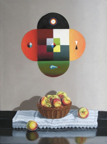 "Lynn Talbot - ""Untitled (Mandala Above Basket of Peaches),"" 2012, Oil on linen, 16 x 12 inches"