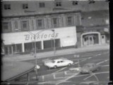 "Bickfords at Atlantic and Flatbush - Still from video ""Atlantic in Brooklyn,"" 1971-72. Collection of the artist."