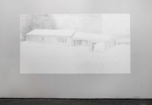 """Kate Teale - Destruction of """"White Out,"""" 2015, Destruction of wall drawing"""